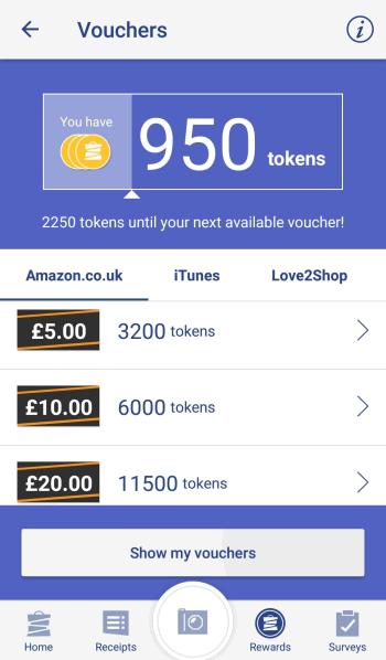 Shoppix vouchers screen