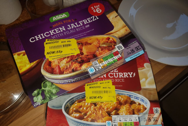 Reduced price food from ASDA