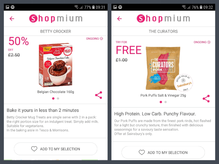 Shopmium two products